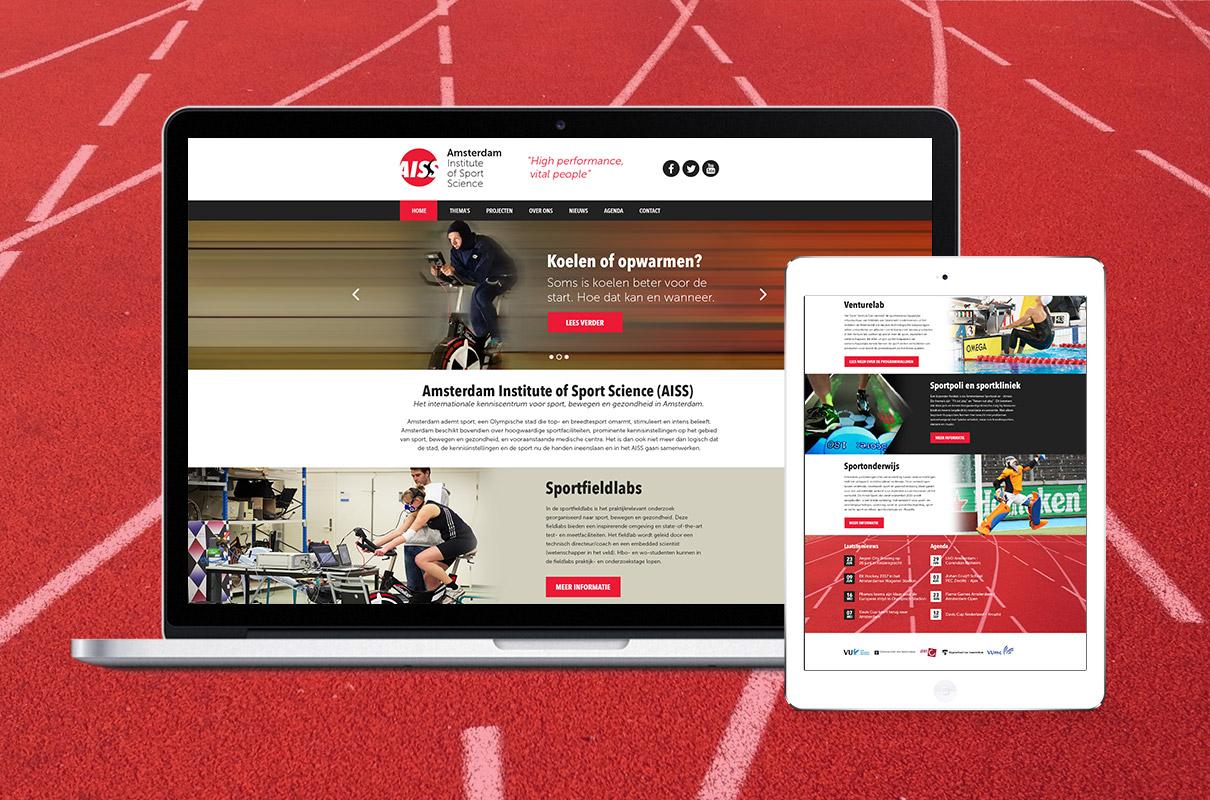 Amsterdam Institute of Sport Science - design op Macbook en iPad