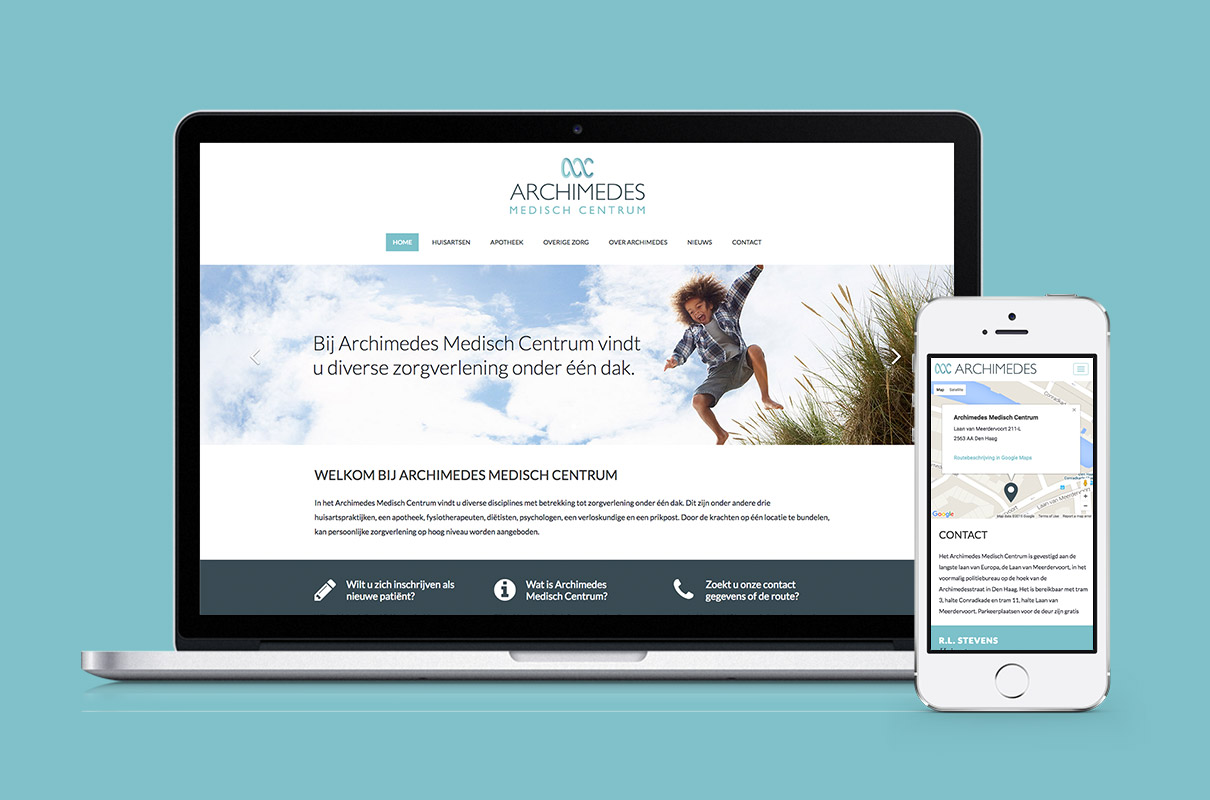 Archimedes Medisch Centrum - design op iMac en iPhone