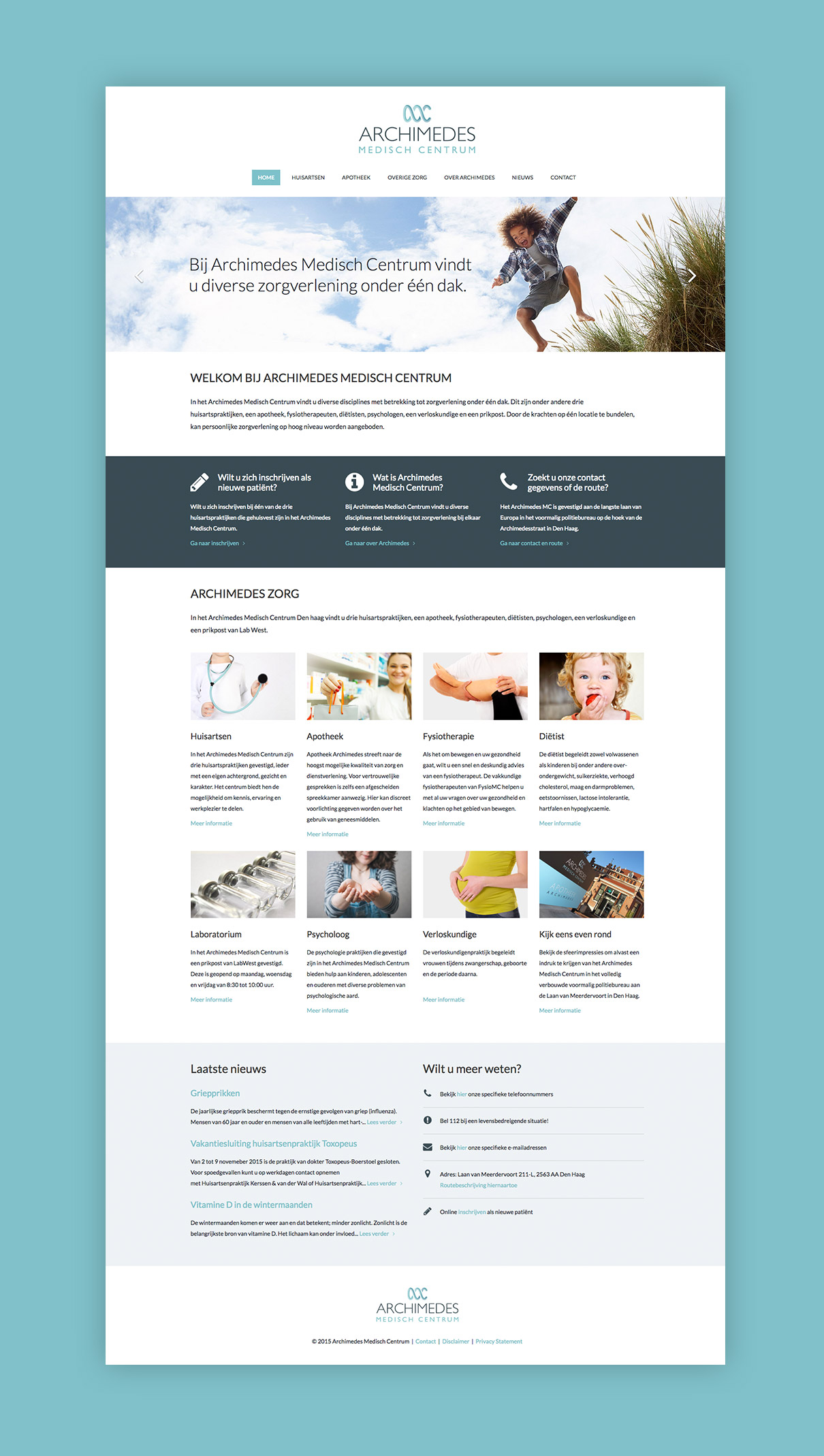 Archimedes Medisch Centrum - design homepage