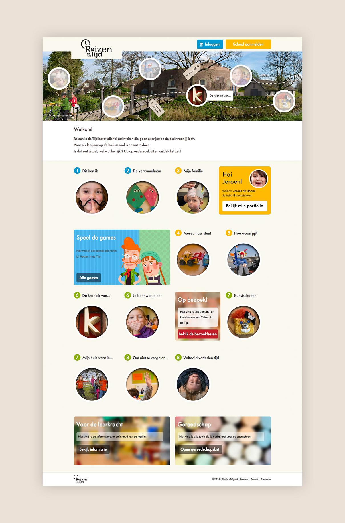 Reizen in de Tijd - design homepage