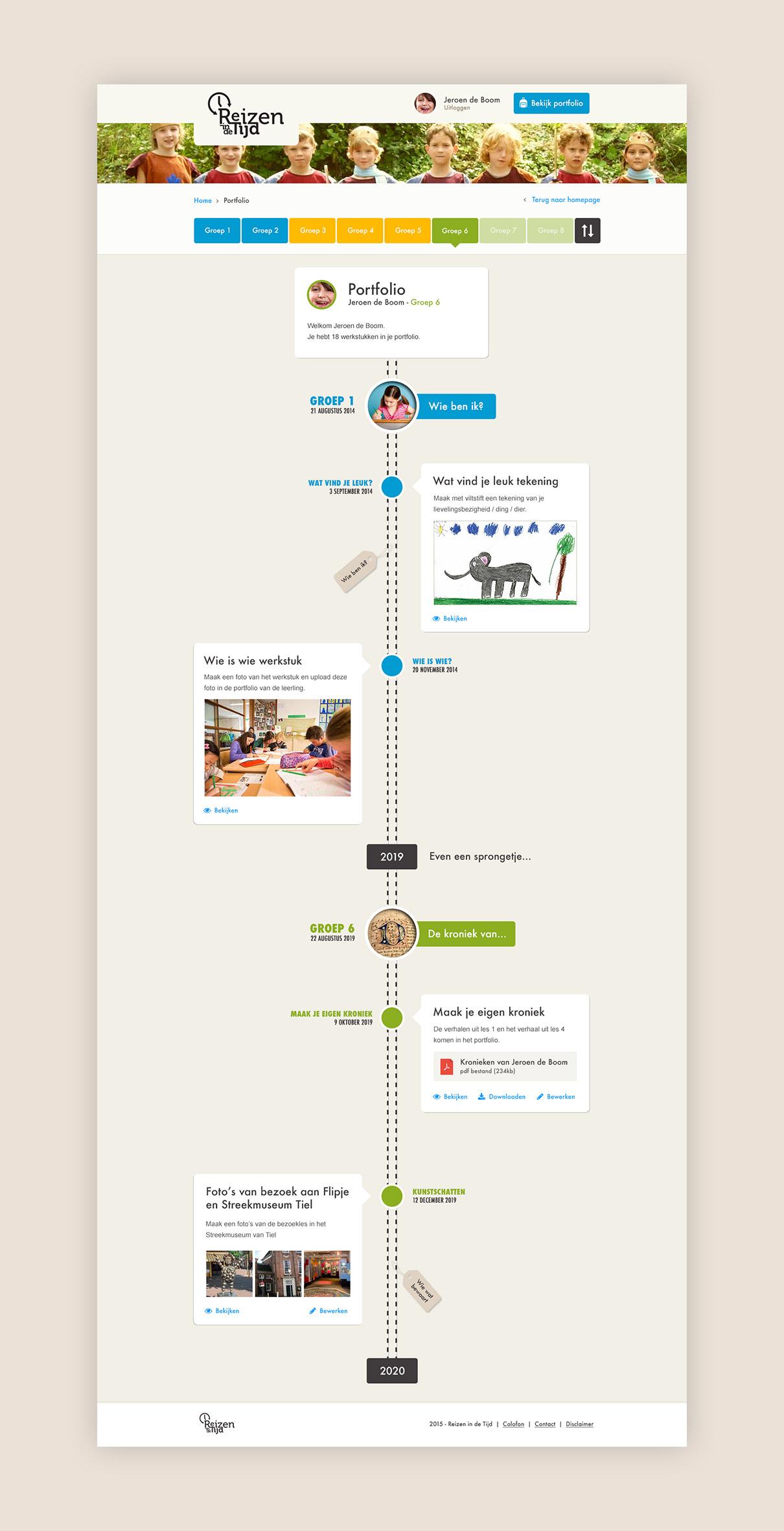 Reizen in de Tijd - design portfolio tijdlijn